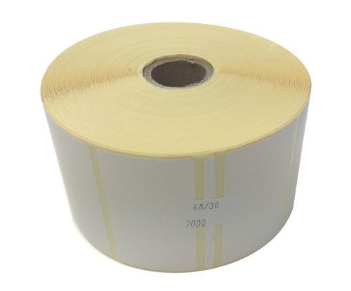 Papieretikett auf einer Rolle 68x38mm