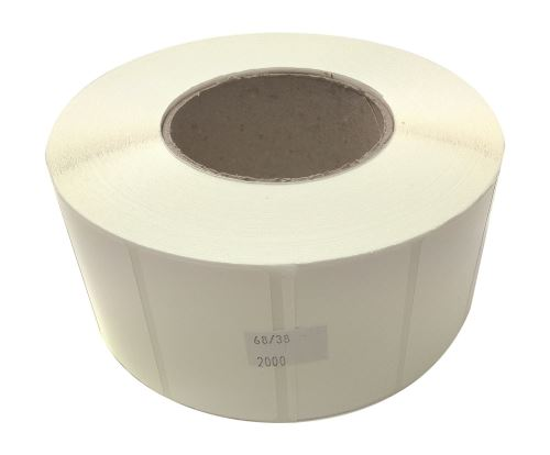 Adhesive Polyethylen labels 68x38mm SYNTYRE (price per 1000pc, 2000 pc/roll)