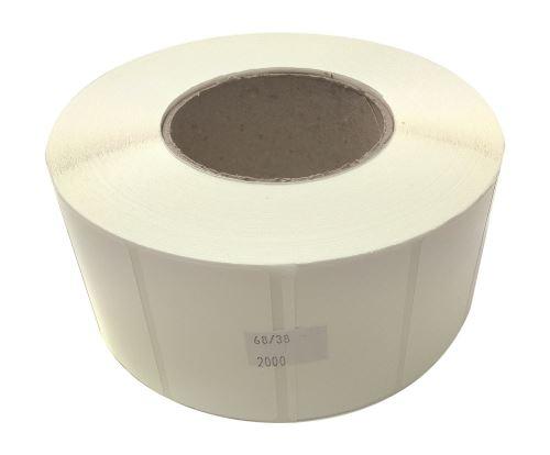 Plastiketikett auf einer Rolle 68x38mm, (PE), starker Kleber SYNTYRE, Hohl 76 mm