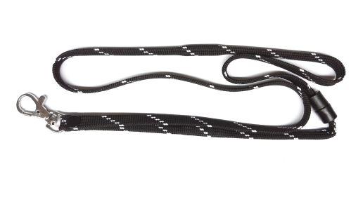 UHF RFID šňůrka na krk, černobíla, kovová karabina