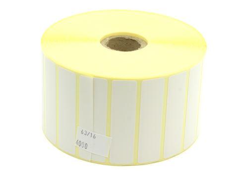 Papieretikett auf einer Rolle 63x16mm