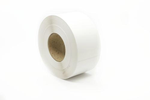 Etiketa na kotouči 80x105mm,plastová (PE), silné lepidlo SYNTYRE, dutinka 76mm!