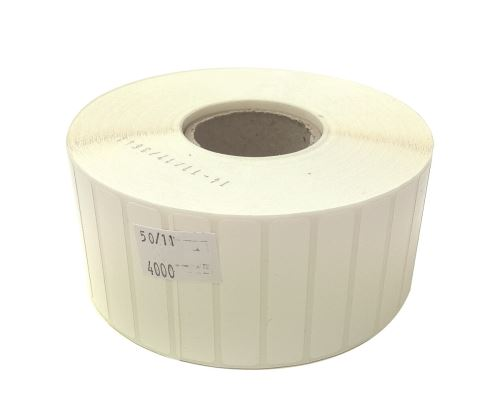 Etiketa na kotouči 50x11mm,plastová (PE), silné lepidlo SYNTYRE