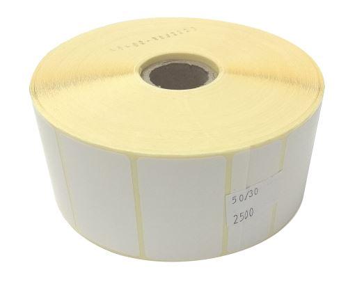 Papieretikett auf einer Rolle 50x30mm, leicht zu schälen