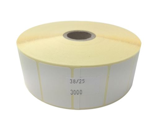 Adhesive paper labels 38x25mm, price per 1000pc (3000pc/roll)